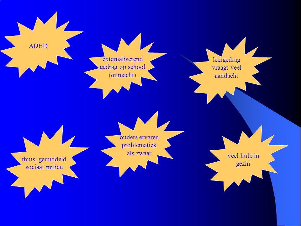 gedrag op school: externaliserend daarnaast ook internaliserende problematiek thuis: gemiddeld sociaal milieu, maar wel problemen leergedrag vraagt veel aandacht opvoeding als zeer belastend ervaren psychiatrische diagnoses: allerlei heel veel hulp in gezin