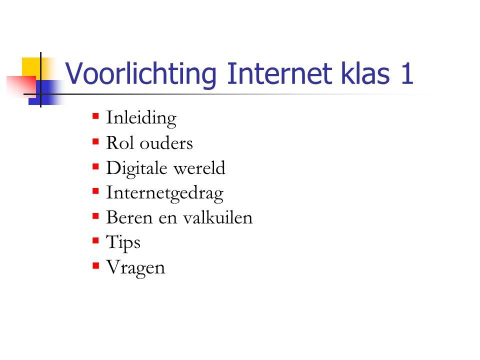 Voorlichting Internet klas 1  Inleiding  Rol ouders  Digitale wereld  Internetgedrag  Beren en valkuilen  Tips  Vragen