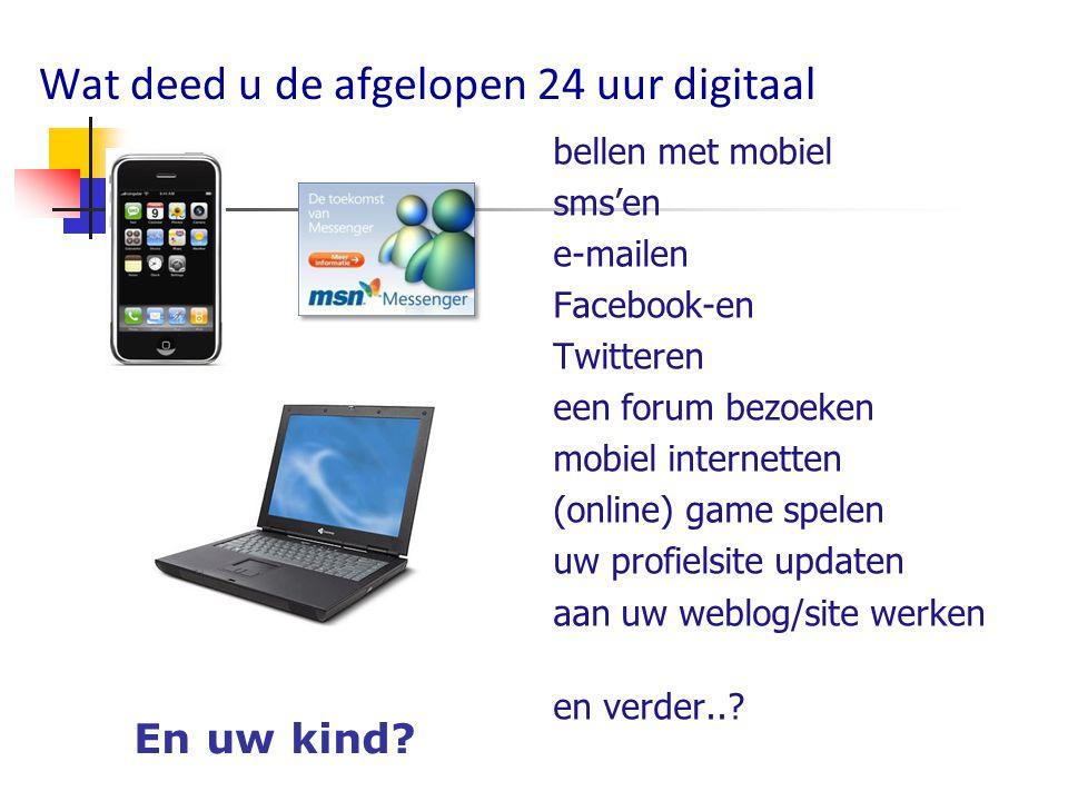 Wat deed u de afgelopen 24 uur digitaal bellen met mobiel sms'en e-mailen Facebook-en Twitteren een forum bezoeken mobiel internetten (online) game sp