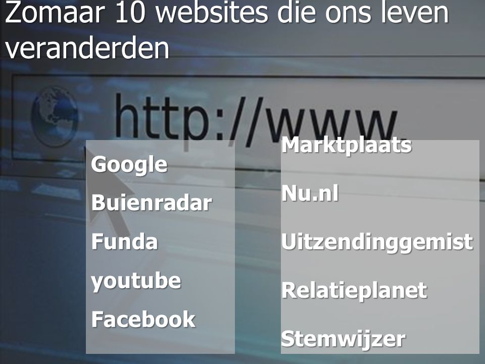 Zomaar 10 websites die ons leven veranderden Google Buienradar Funda youtube Facebook MarktplaatsNu.nlUitzendinggemistRelatieplanetStemwijzer