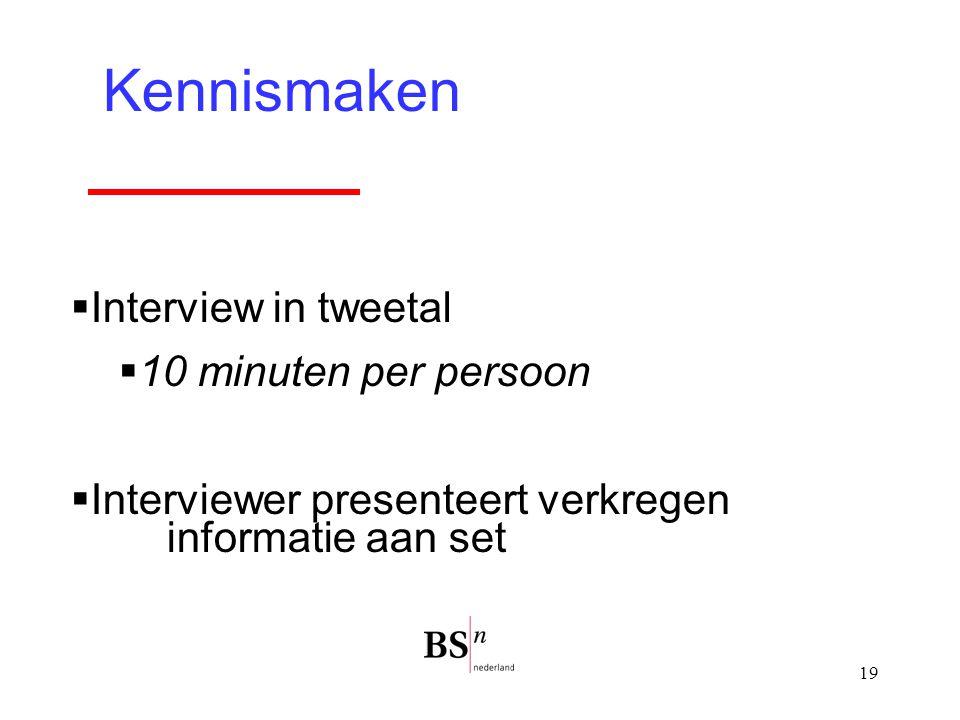 19 Kennismaken  Interview in tweetal  10 minuten per persoon  Interviewer presenteert verkregen informatie aan set
