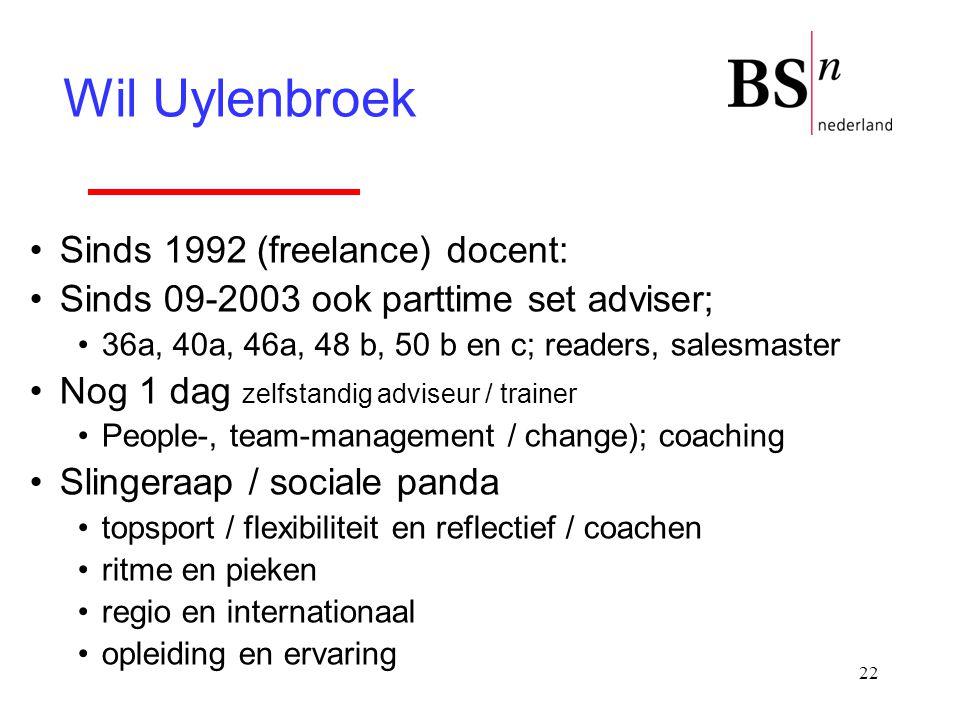 22 Sinds 1992 (freelance) docent: Sinds 09-2003 ook parttime set adviser; 36a, 40a, 46a, 48 b, 50 b en c; readers, salesmaster Nog 1 dag zelfstandig a