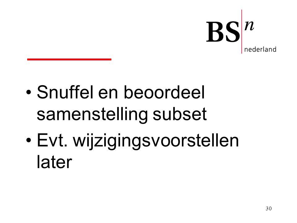 30 Snuffel en beoordeel samenstelling subset Evt. wijzigingsvoorstellen later