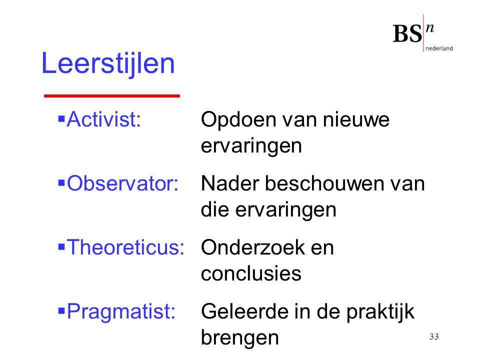 33 Leerstijlen  Activist: Opdoen van nieuwe ervaringen  Observator:Nader beschouwen van die ervaringen  Theoreticus:Onderzoek en conclusies  Pragm