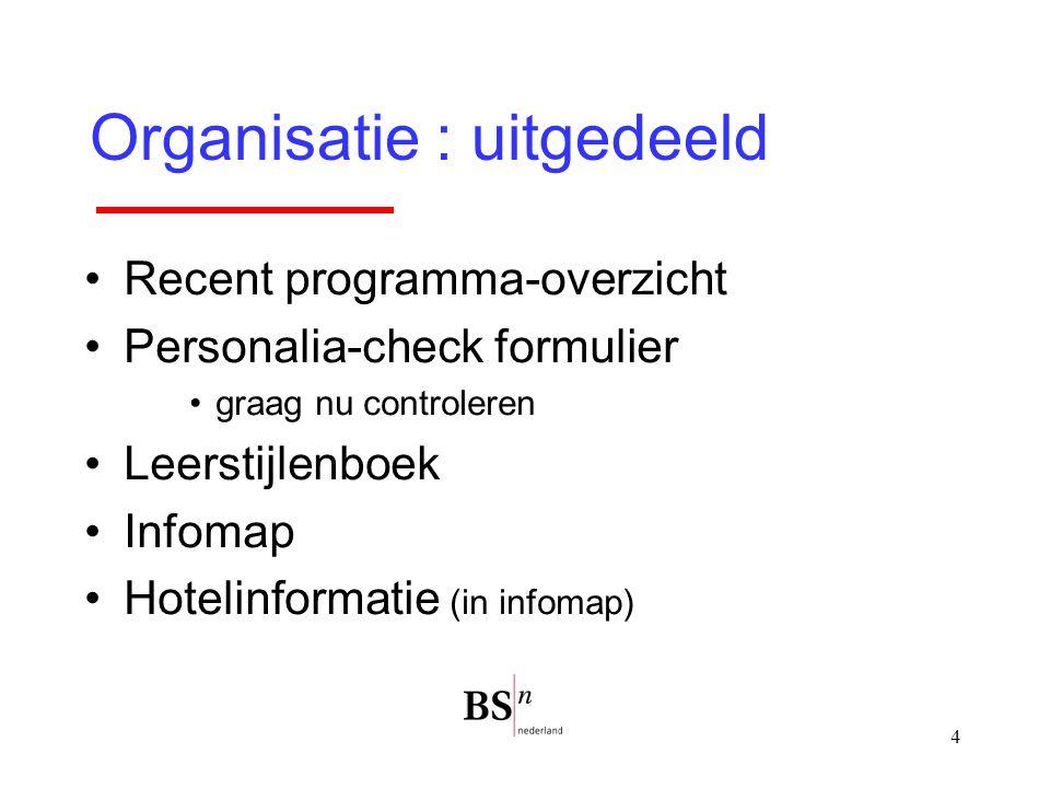 4 Organisatie : uitgedeeld Recent programma-overzicht Personalia-check formulier graag nu controleren Leerstijlenboek Infomap Hotelinformatie (in info