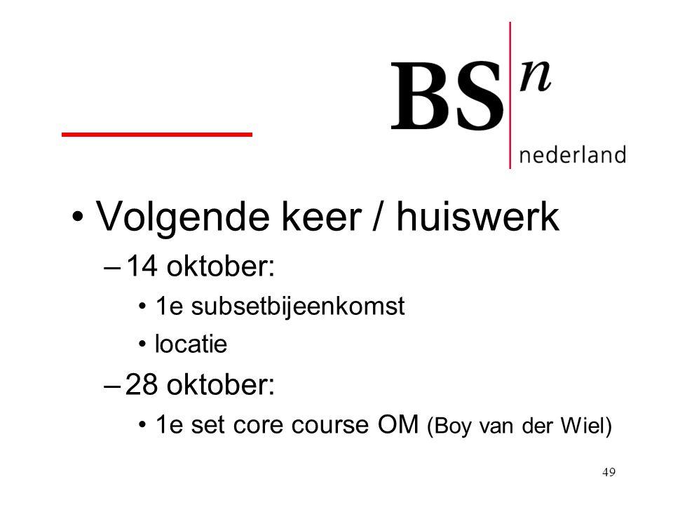 49 Volgende keer / huiswerk –14 oktober: 1e subsetbijeenkomst locatie –28 oktober: 1e set core course OM (Boy van der Wiel)