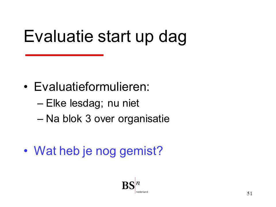 51 Evaluatie start up dag Evaluatieformulieren: –Elke lesdag; nu niet –Na blok 3 over organisatie Wat heb je nog gemist?