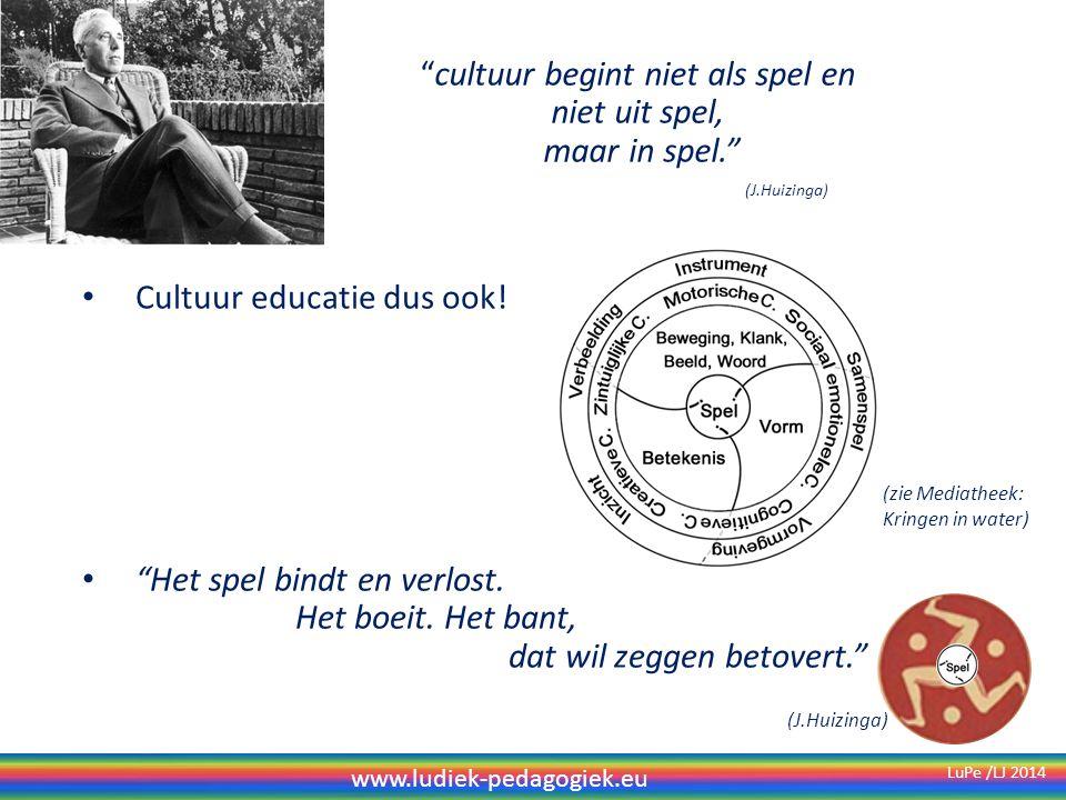 cultuur begint niet als spel en niet uit spel, maar in spel. Cultuur educatie dus ook.
