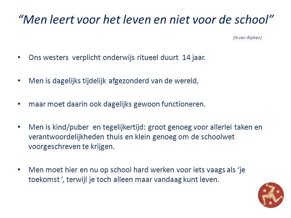 Men leert voor het leven en niet voor de school (H.van Alphen) Ons westers verplicht onderwijs ritueel duurt 14 jaar.