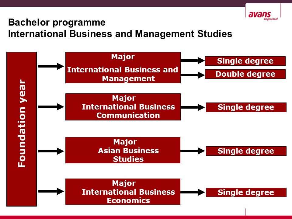 Bachelor programme Foundation year Major International Business and Management Major International Business Communication Major Asian Business Studies Major International Business Economics International Business and Management Studies Double degree Single degree