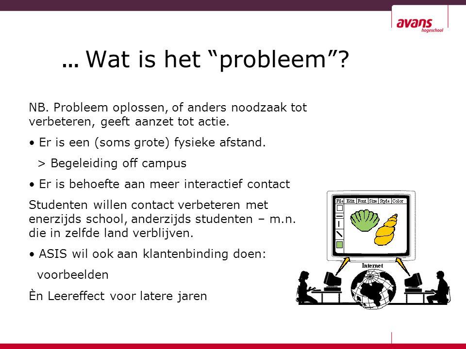 """… Wat is het """"probleem""""? NB. Probleem oplossen, of anders noodzaak tot verbeteren, geeft aanzet tot actie. Er is een (soms grote) fysieke afstand. > B"""