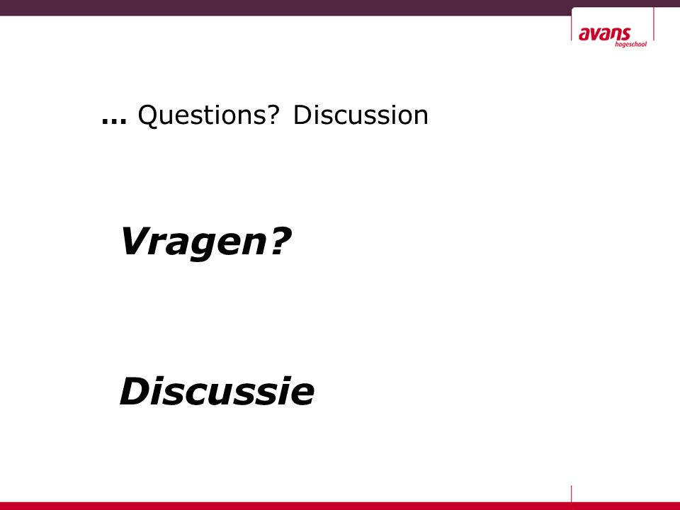 … Questions Discussion Vragen Discussie