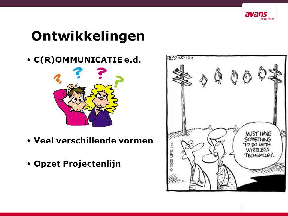 Ontwikkelingen C(R)OMMUNICATIE e.d. Veel verschillende vormen Opzet Projectenlijn