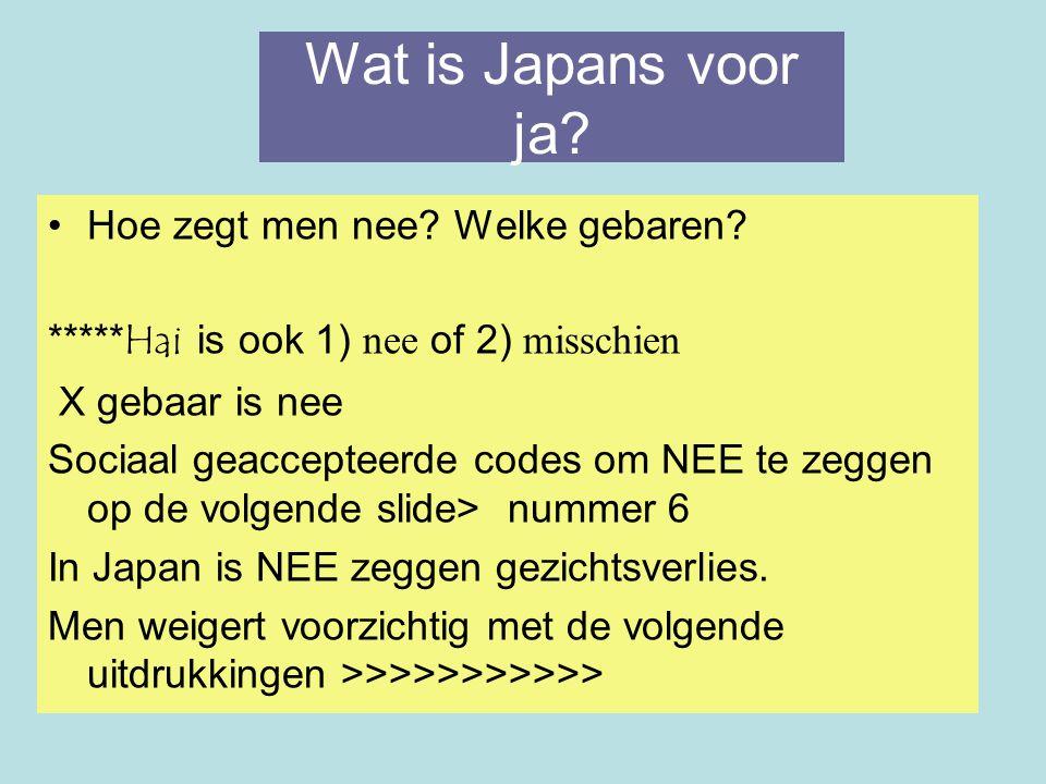 Wat is Japans voor ja? Hoe zegt men nee? Welke gebaren? ***** Hai is ook 1) nee of 2) misschien X gebaar is nee Sociaal geaccepteerde codes om NEE te