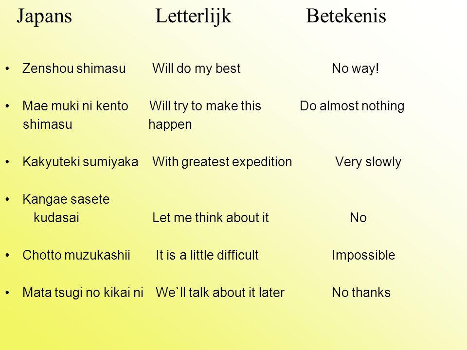 Japans Letterlijk Betekenis Zenshou shimasu Will do my bestNo way! Mae muki ni kento Will try to make this Do almost nothing shimasu happen Kakyuteki