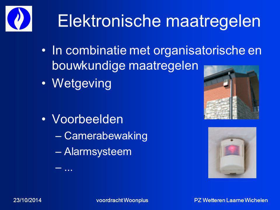 Elektronische maatregelen In combinatie met organisatorische en bouwkundige maatregelen Wetgeving Voorbeelden –Camerabewaking –Alarmsysteem –...