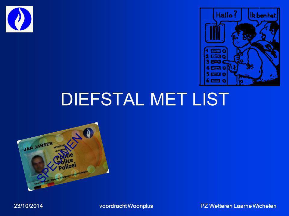 23/10/2014 voordracht Woonplus PZ Wetteren Laarne Wichelen DIEFSTAL MET LIST