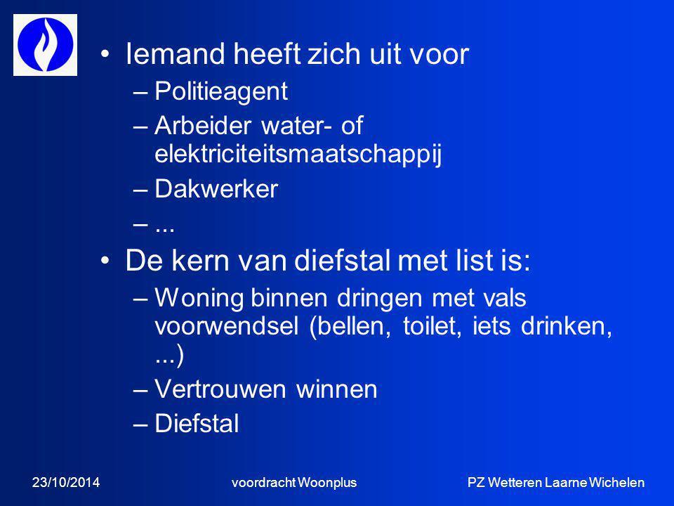 23/10/2014 voordracht Woonplus PZ Wetteren Laarne Wichelen Iemand heeft zich uit voor –Politieagent –Arbeider water- of elektriciteitsmaatschappij –Dakwerker –...