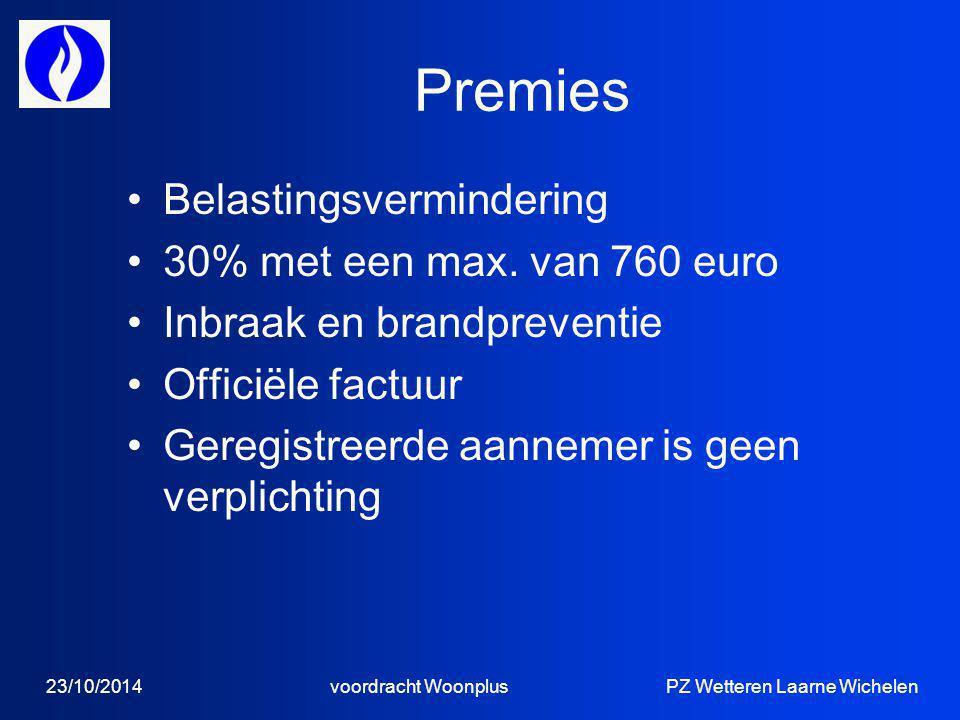 Premies Belastingsvermindering 30% met een max.