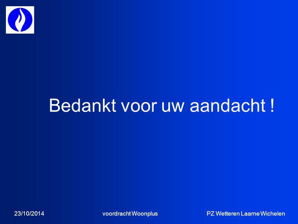 23/10/2014 voordracht Woonplus PZ Wetteren Laarne Wichelen Bedankt voor uw aandacht !