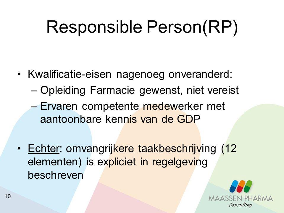 10 Responsible Person(RP) Kwalificatie-eisen nagenoeg onveranderd: –Opleiding Farmacie gewenst, niet vereist –Ervaren competente medewerker met aantoo