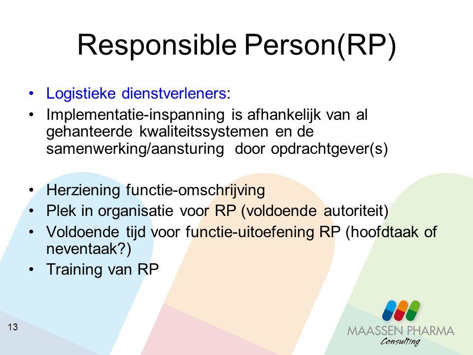 14 Responsible Person(RP) Groothandelaren vrij verkrijgbare geneesmiddelen: Herziening functie-omschrijving Plek in organisatie voor RP (voldoende autoriteit) Voldoende tijd voor functie-uitoefening RP (hoofdtaak of neventaak?) Training van RP