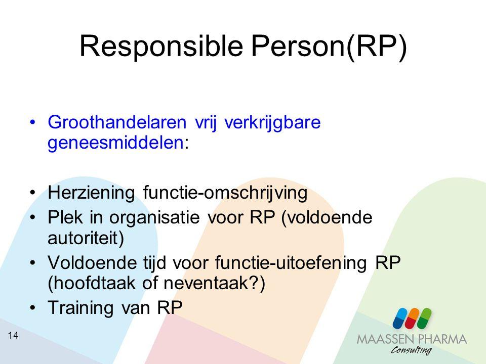 14 Responsible Person(RP) Groothandelaren vrij verkrijgbare geneesmiddelen: Herziening functie-omschrijving Plek in organisatie voor RP (voldoende aut