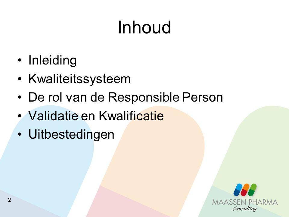 22 Inhoud Inleiding Kwaliteitssysteem De rol van de Responsible Person Validatie en Kwalificatie Uitbestedingen
