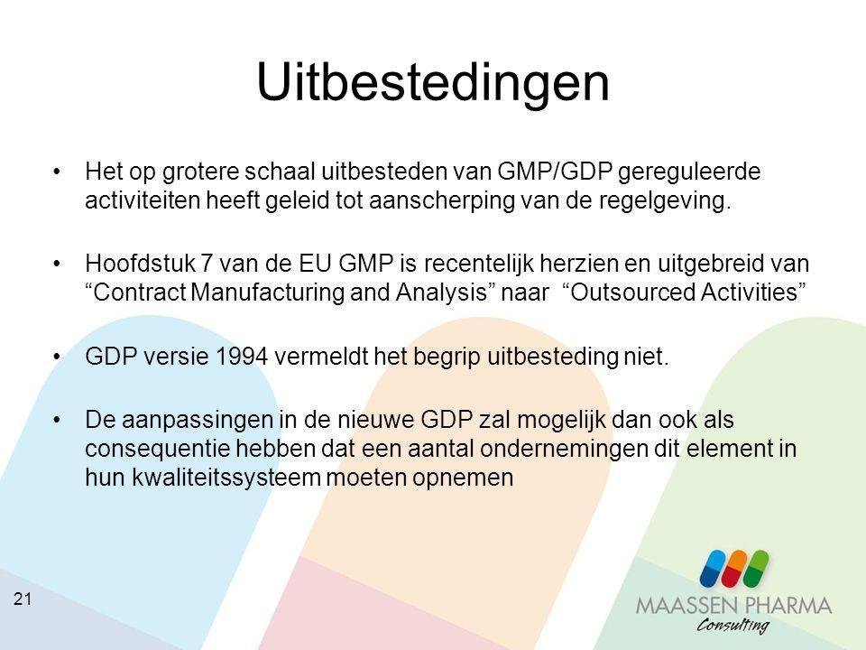 21 Uitbestedingen Het op grotere schaal uitbesteden van GMP/GDP gereguleerde activiteiten heeft geleid tot aanscherping van de regelgeving. Hoofdstuk