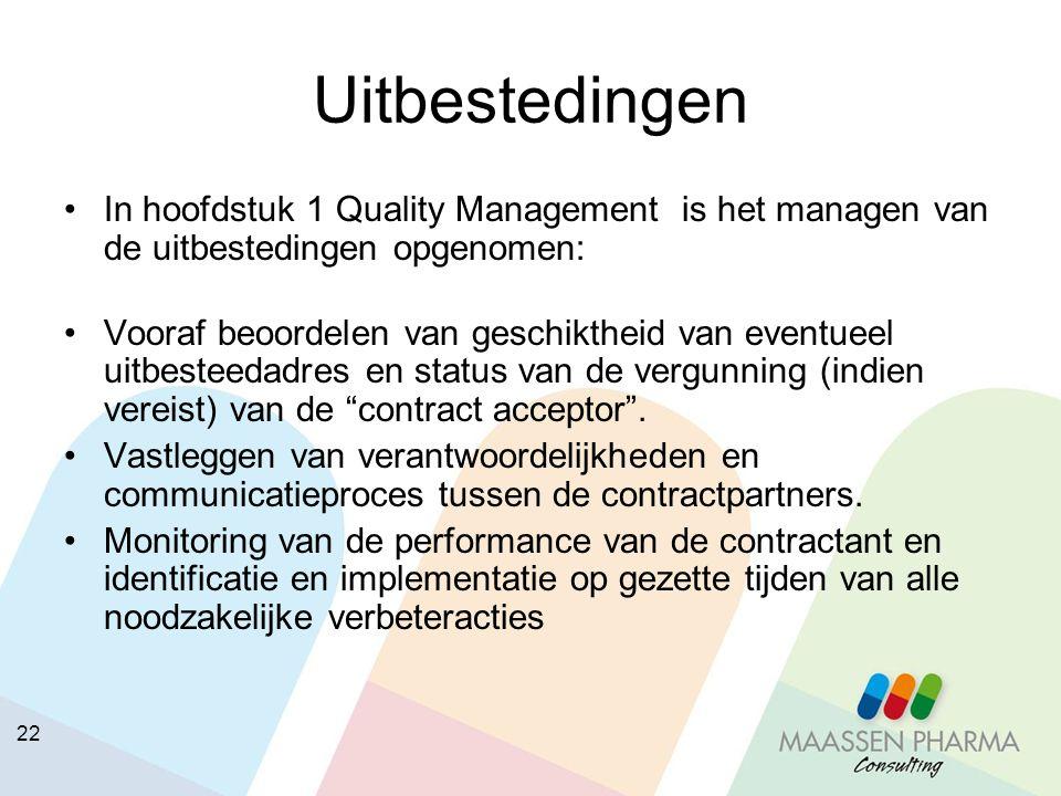 22 Uitbestedingen In hoofdstuk 1 Quality Management is het managen van de uitbestedingen opgenomen: Vooraf beoordelen van geschiktheid van eventueel u