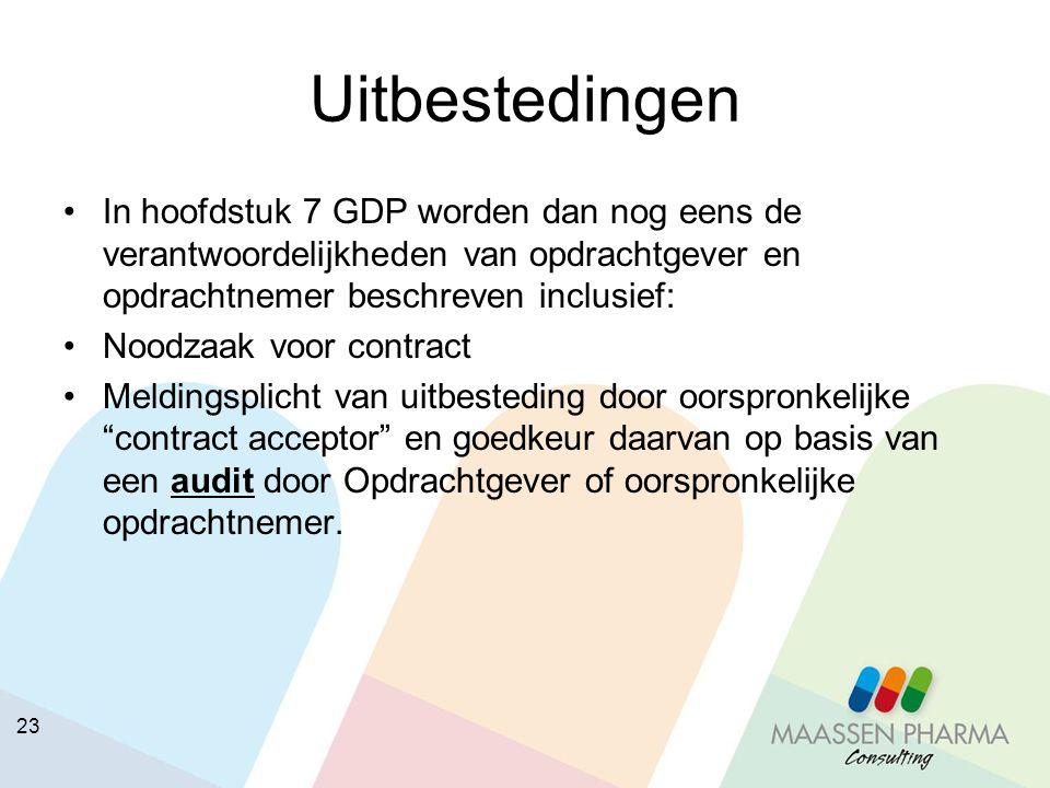 23 Uitbestedingen In hoofdstuk 7 GDP worden dan nog eens de verantwoordelijkheden van opdrachtgever en opdrachtnemer beschreven inclusief: Noodzaak vo