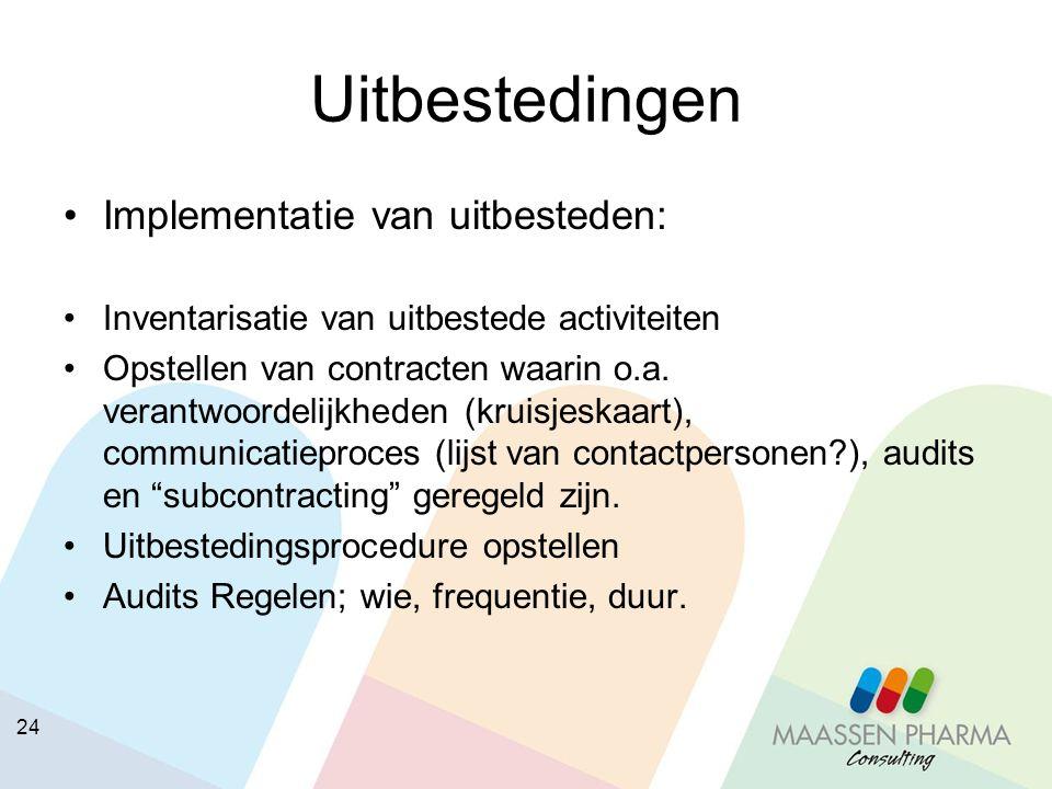 24 Uitbestedingen Implementatie van uitbesteden: Inventarisatie van uitbestede activiteiten Opstellen van contracten waarin o.a. verantwoordelijkheden