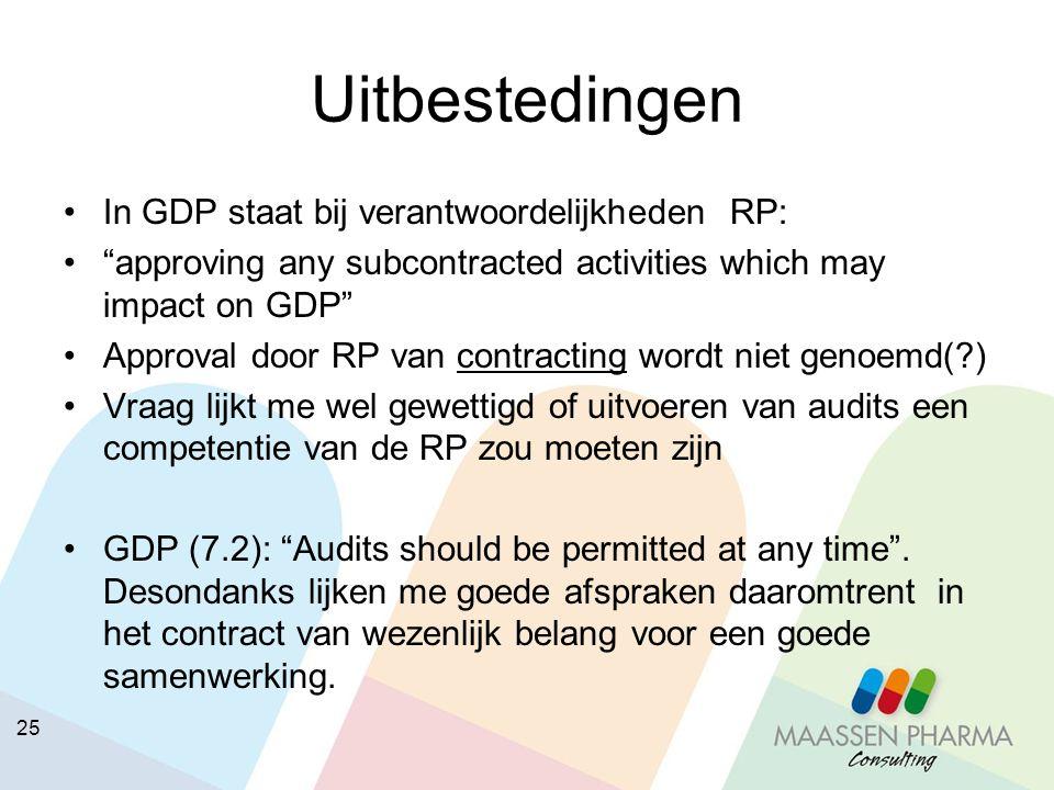 """25 Uitbestedingen In GDP staat bij verantwoordelijkheden RP: """"approving any subcontracted activities which may impact on GDP"""" Approval door RP van con"""