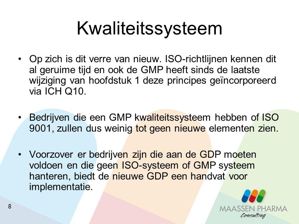 9 Kwaliteitssysteem Op basis van de in hoofdstuk 1 beschreven doelen van het kwaliteitssysteem en de hoofdstukken van de GDP kan het management van het bedrijf samen met de Responsible Person dit systeem organiseren en documenteren.