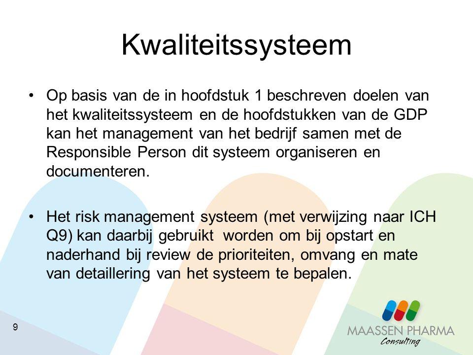 9 Kwaliteitssysteem Op basis van de in hoofdstuk 1 beschreven doelen van het kwaliteitssysteem en de hoofdstukken van de GDP kan het management van he