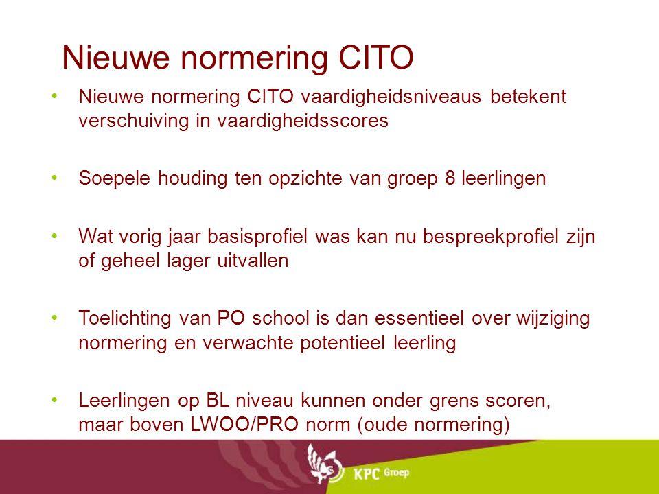 Nieuwe normering CITO Nieuwe normering CITO vaardigheidsniveaus betekent verschuiving in vaardigheidsscores Soepele houding ten opzichte van groep 8 l