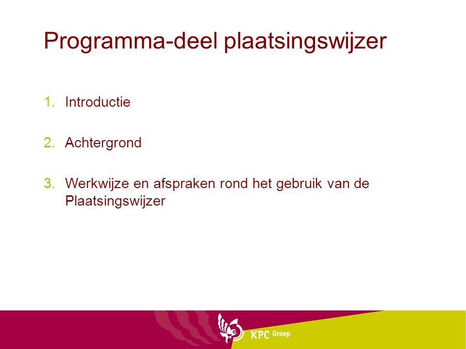Programma-deel plaatsingswijzer 1.Introductie 2.Achtergrond 3.Werkwijze en afspraken rond het gebruik van de Plaatsingswijzer