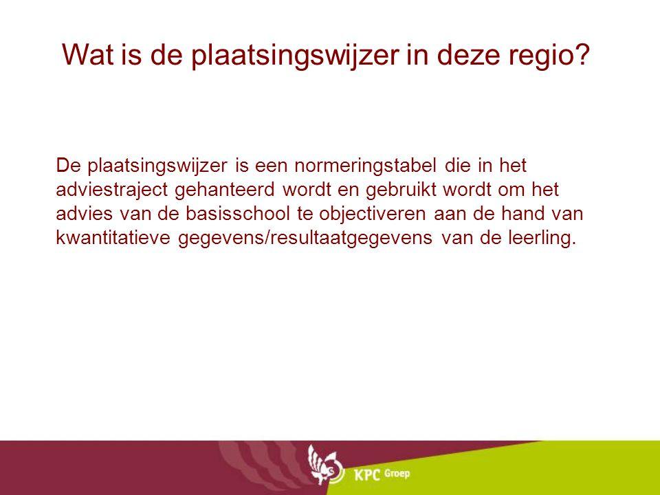 Wat is de plaatsingswijzer in deze regio? De plaatsingswijzer is een normeringstabel die in het adviestraject gehanteerd wordt en gebruikt wordt om he