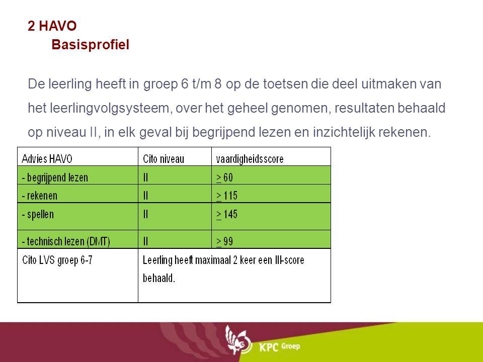 2 HAVO Basisprofiel De leerling heeft in groep 6 t/m 8 op de toetsen die deel uitmaken van het leerlingvolgsysteem, over het geheel genomen, resultate