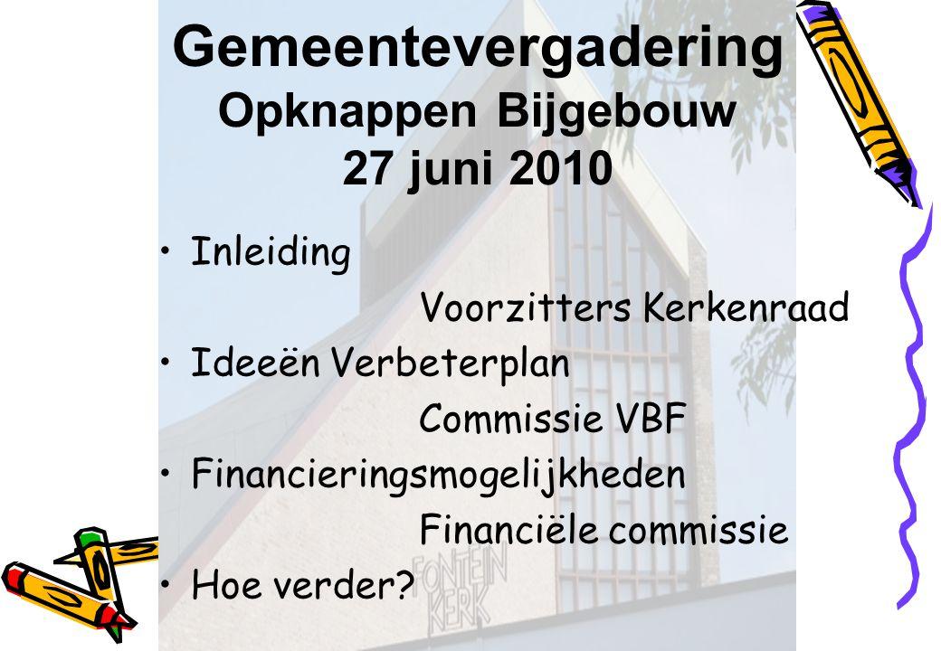 Gemeentevergadering Opknappen Bijgebouw 27 juni 2010 Inleiding Voorzitters Kerkenraad Ideeën Verbeterplan Commissie VBF Financieringsmogelijkheden Fin