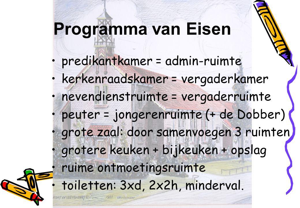 Programma van Eisen predikantkamer = admin-ruimte kerkenraadskamer = vergaderkamer nevendienstruimte = vergaderruimte peuter = jongerenruimte (+ de Do