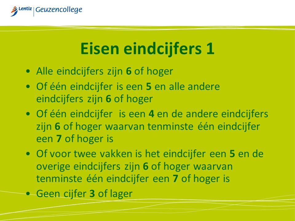 Eisen eindcijfers 1 Alle eindcijfers zijn 6 of hoger Of één eindcijfer is een 5 en alle andere eindcijfers zijn 6 of hoger Of één eindcijfer is een 4