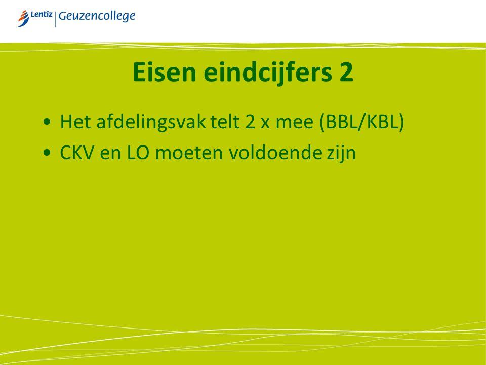 Eisen eindcijfers 2 Het afdelingsvak telt 2 x mee (BBL/KBL) CKV en LO moeten voldoende zijn