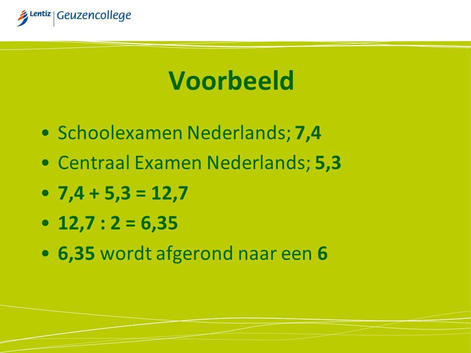 Voorbeeld Schoolexamen Nederlands; 7,4 Centraal Examen Nederlands; 5,3 7,4 + 5,3 = 12,7 12,7 : 2 = 6,35 6,35 wordt afgerond naar een 6
