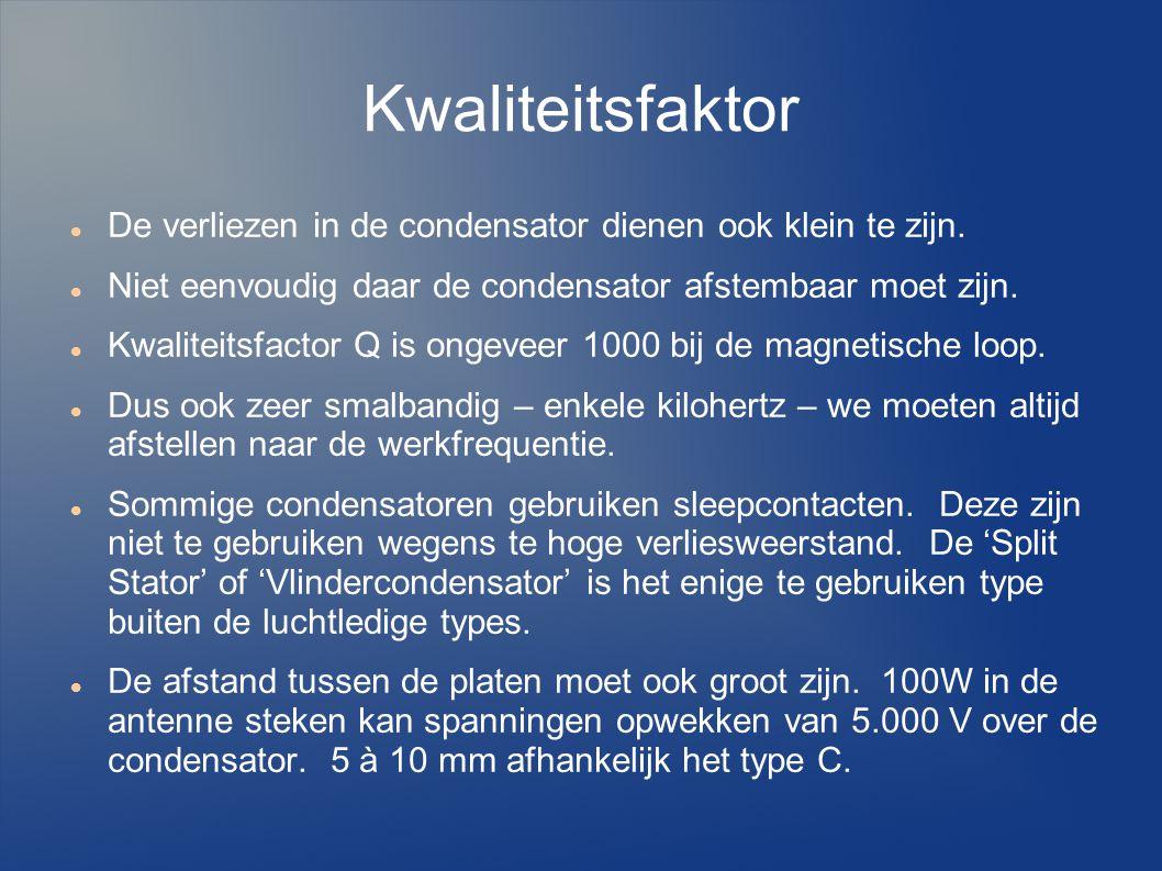 Kwaliteitsfaktor De verliezen in de condensator dienen ook klein te zijn.