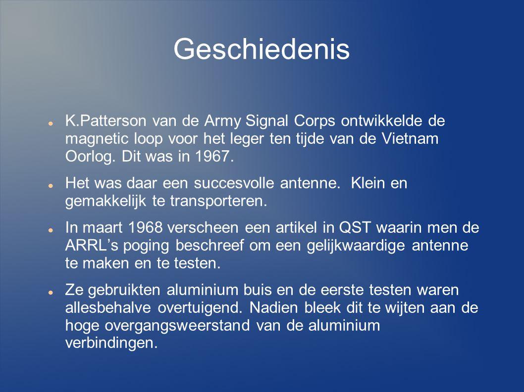 Geschiedenis K.Patterson van de Army Signal Corps ontwikkelde de magnetic loop voor het leger ten tijde van de Vietnam Oorlog.