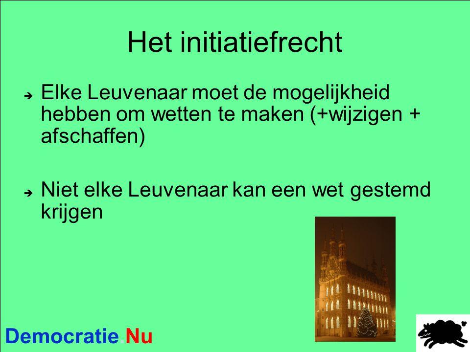 Democratie.Nu Het initiatiefrecht  Elke Leuvenaar moet de mogelijkheid hebben om wetten te maken (+wijzigen + afschaffen)  Niet elke Leuvenaar kan