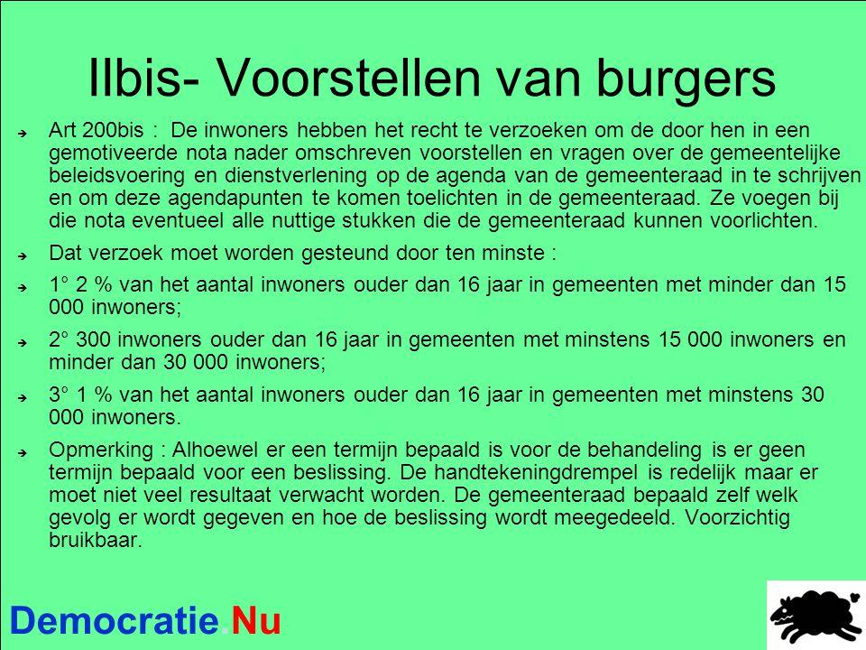Democratie.Nu IIbis- Voorstellen van burgers  Art 200bis : De inwoners hebben het recht te verzoeken om de door hen in een gemotiveerde nota nader om
