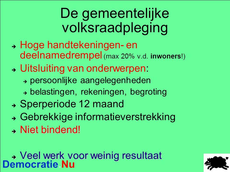 Democratie.Nu De gemeentelijke volksraadpleging  Hoge handtekeningen- en deelnamedrempel (max 20% v.d. inwoners!)  Uitsluiting van onderwerpen:  p