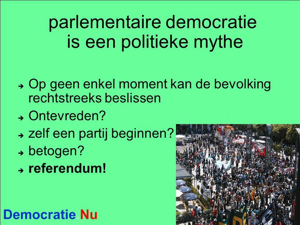 Democratie.Nu parlementaire democratie is een politieke mythe  Op geen enkel moment kan de bevolking rechtstreeks beslissen  Ontevreden?  zelf een